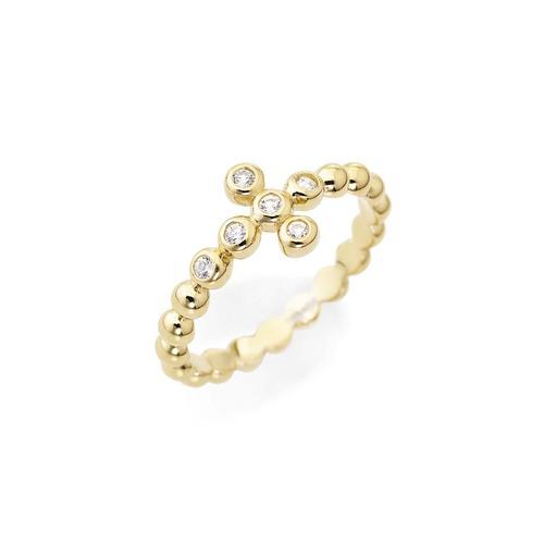 Anello croce in AG925 dorato con zirconi colore-pietra