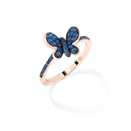 Anello Rosè Farfalla Zirconi Blu