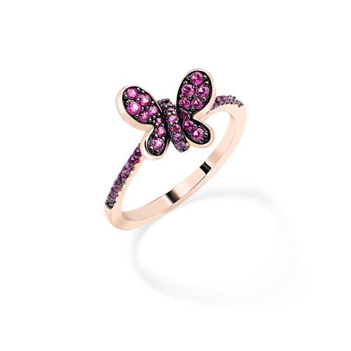 Anello Rosè Farfalla Zirconi Rubino