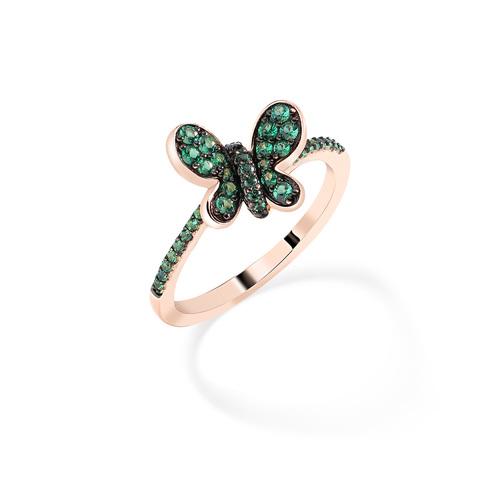 Anello Rosè Farfalla Zirconi Verdi