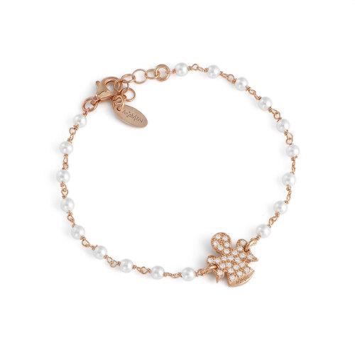 Bracciale angeli AG925 con perle swarovski e zirconi bianchi