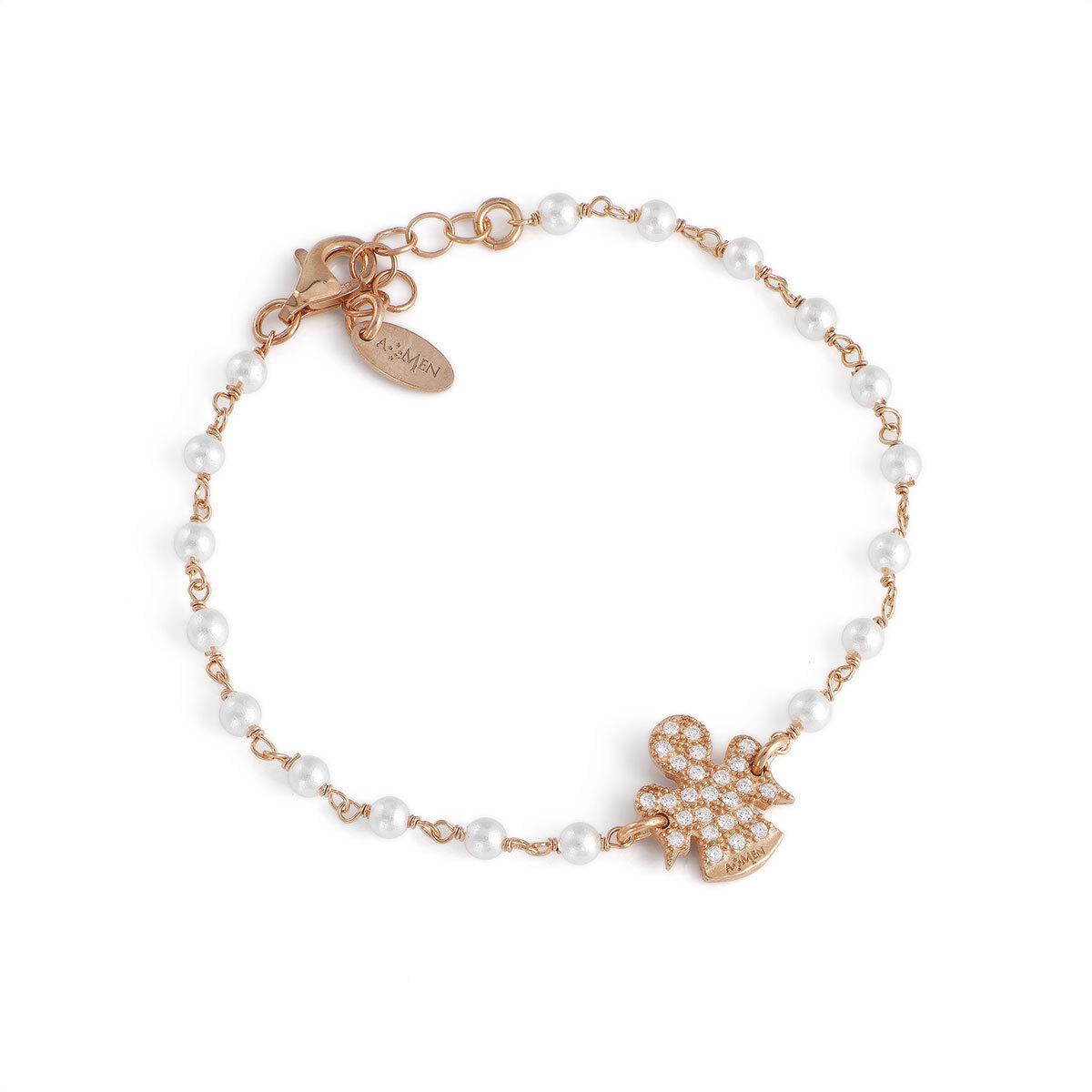 7906af52396ee6 Bracciale angeli AG925 con perle swarovski e zirconi bianchi