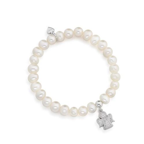 Bracciale angelo con zirconi e perle AG925 rodiato