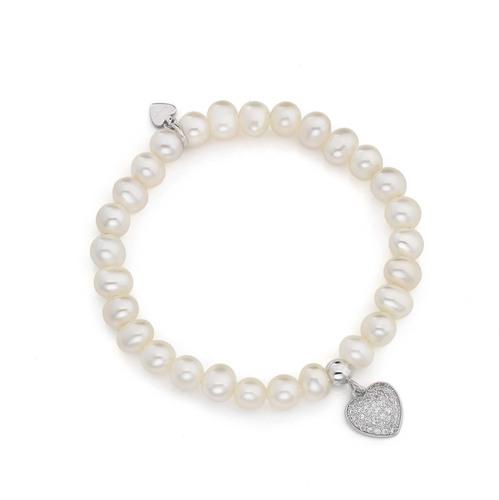 Bracciale cuore con zirconi e perle AG925 rodiato