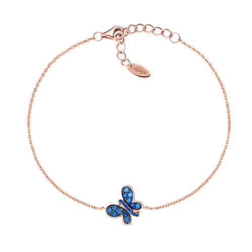 Bracciale Rosè Farfalla Zirconi Blu