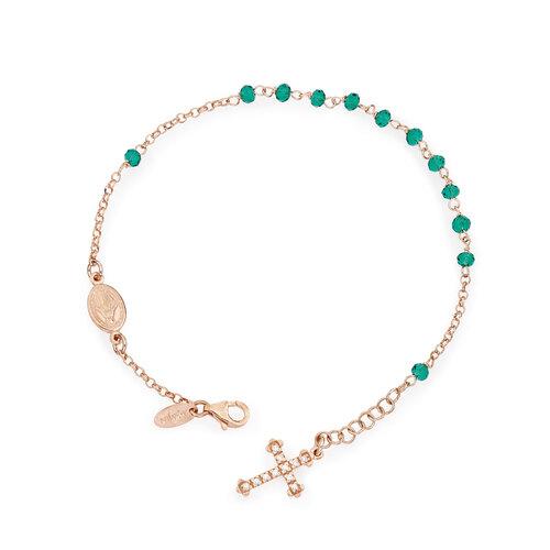 Bracciale rosario AG925 con cristalli e croce pavè charm