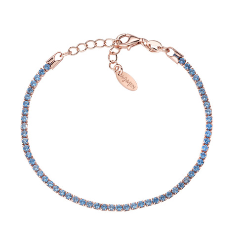 Bracciale Tennis Rosè Zirconi Azzurri