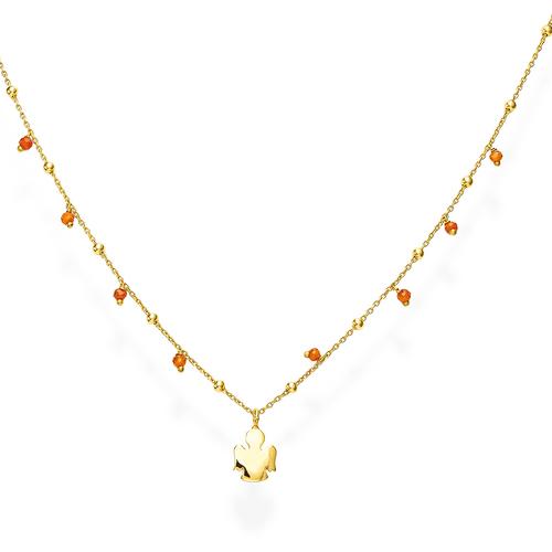 Collana Angelo Bombato e Cristalli Arancio