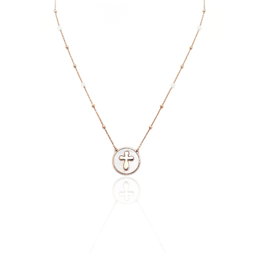 Collana croce AG925 con madreperla bianca