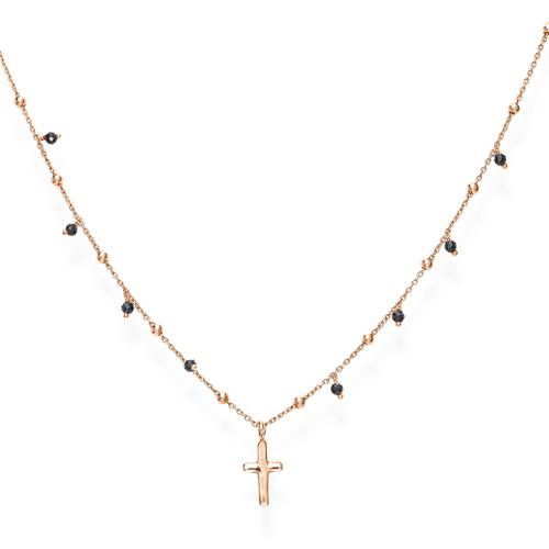 Collana Croce e Cristalli Neri