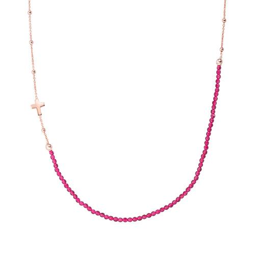 Collana Croce Rosè e Cristalli Rubino