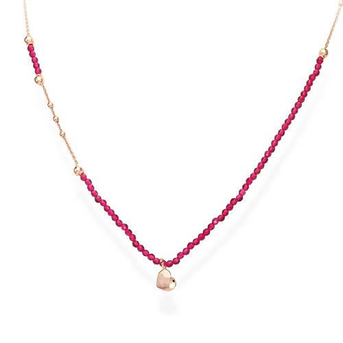 Collana Cuore Rosè e Cristalli Rubino
