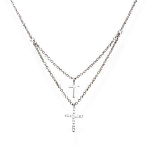 Collana Doppia Croce Zirconi