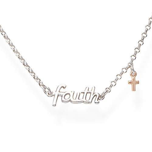 Collana Faith e Charm Croce Rosè