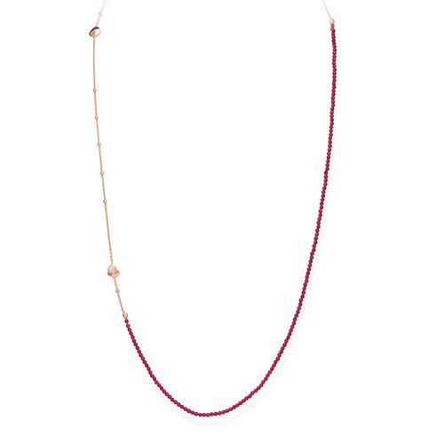 Collana Lunga Cuore Rosè e Pepite Rubino