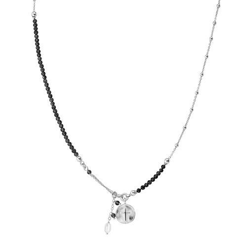 Collana Medaglia Croce e Perla