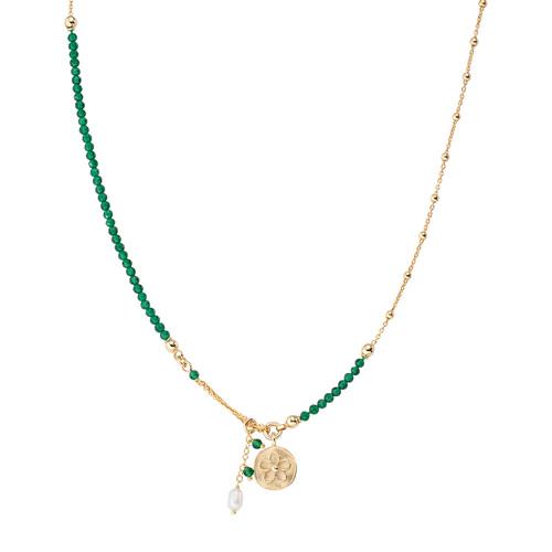Collana Medaglia Fiore e Perla