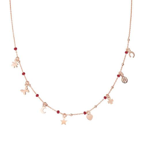 Collana Multi-Charm Rosè e Smalto Rosso