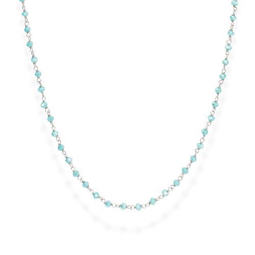 Collana Rodio e Cristalli Azzurro 45cm