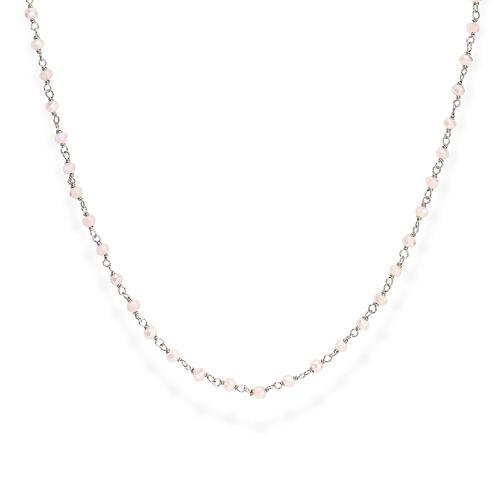 Collana Rodio e Cristalli Rosa 70cm