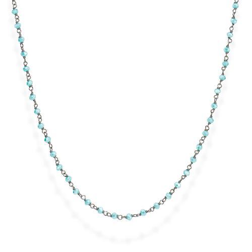 Collana Rodio Nero e Cristalli Azzurro 90cm