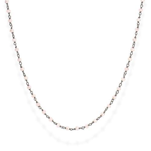 Collana Rodio Nero e Cristalli Rosa 70cm
