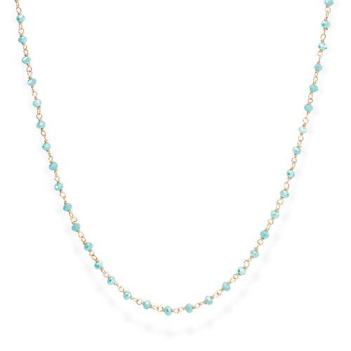 Collana Rosè e Cristalli Azzurro 70cm