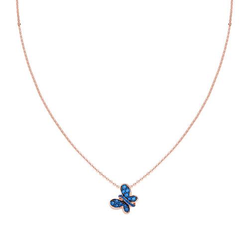 Collana Rosè Farfalla Zirconi Blu