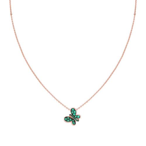 Collana Rosè Farfalla Zirconi Verdi