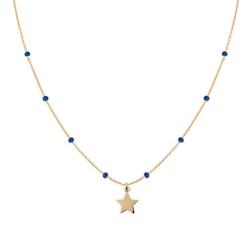 Collana Stella Dorata e Smalto Blu