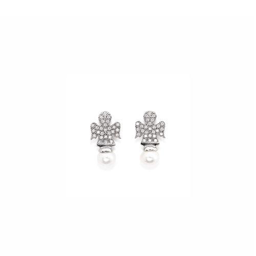 Orecchini angeli zirconi bianchi e perle, AG925 rodiato