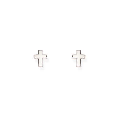 Orecchini Croce Bombata Rodio