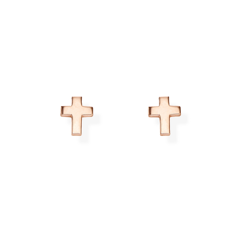 Orecchini Croce Bombata Rosè