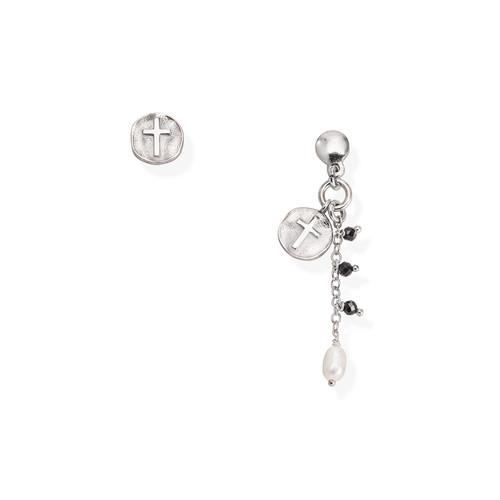 Orecchini Medaglia Croce e Perla