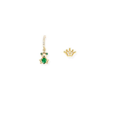 Orecchini Ranocchio e Corona Zirconati