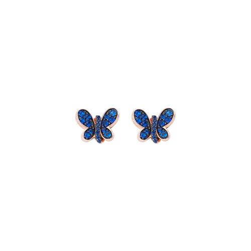 Orecchini Rosè Farfalla Zirconi Blu
