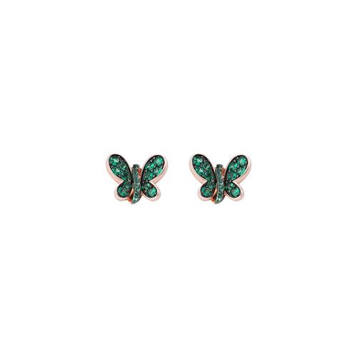 Orecchini Rosè Farfalla Zirconi Verdi