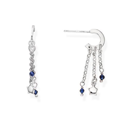 Orecchini Stelle Rodio e Cristalli Blu