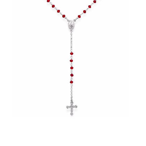 Rosario classico AG925 con cristalli e croce pavè