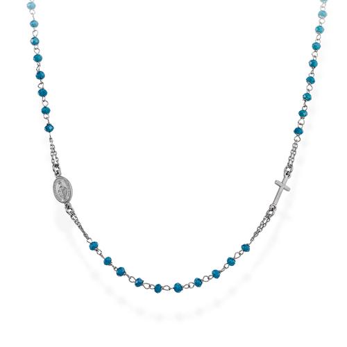 Rosario Girocollo Cristalli Blu